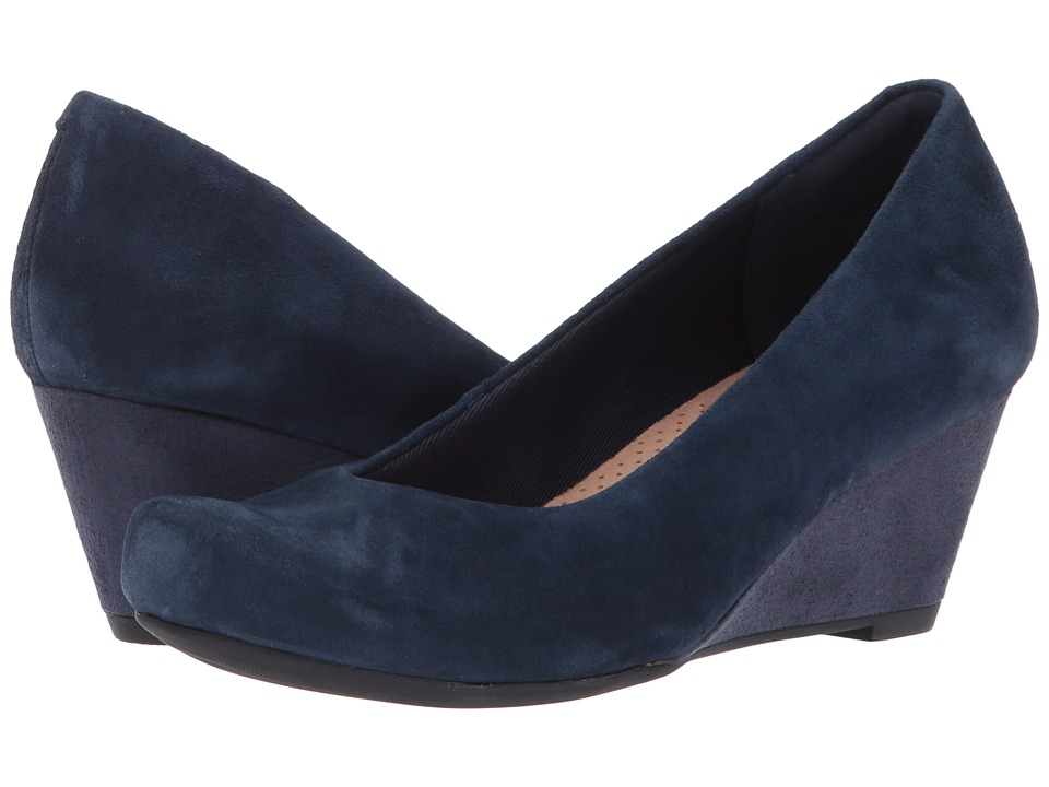 Clarks - Flores Tulip (Navy Suede) Women's Shoes