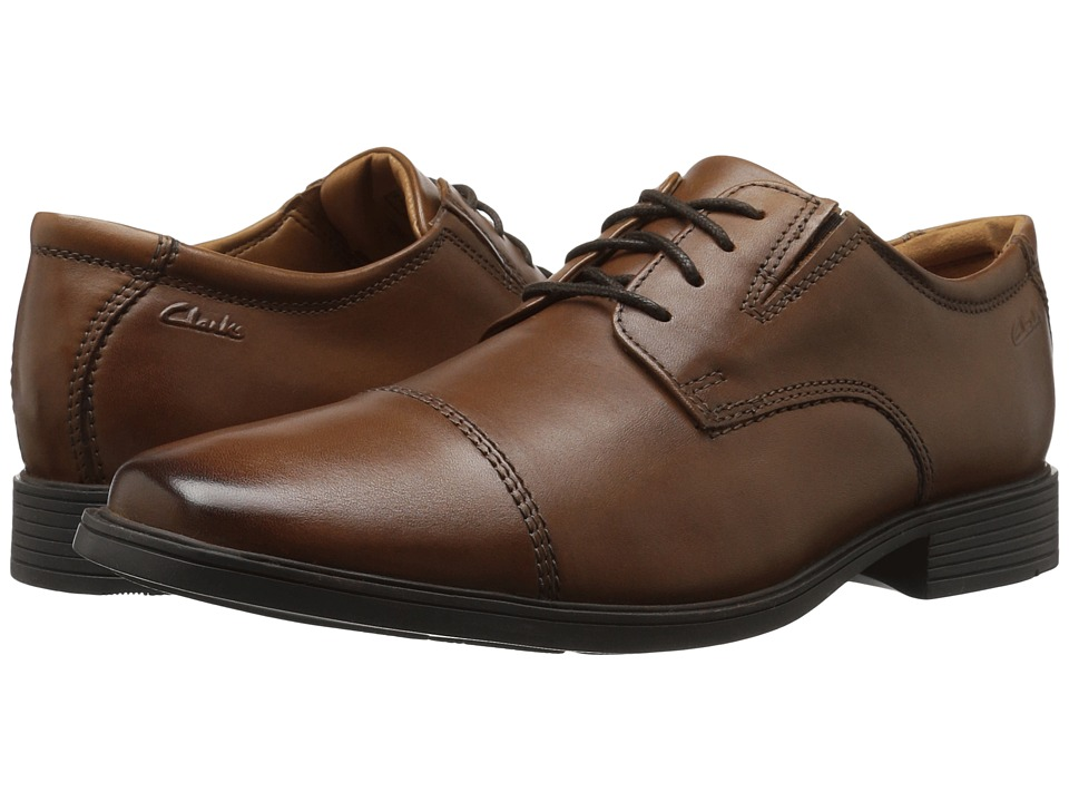 Clarks - Tilden Cap (Dark Tan Leather) Men's Shoes