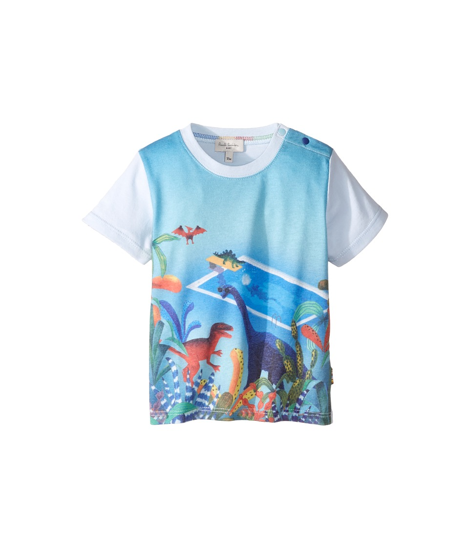 Paul Smith Junior - Short Sleeve Dinosaur All Over Printed Tee (Infant) (Sky Blue) Boy's T Shirt