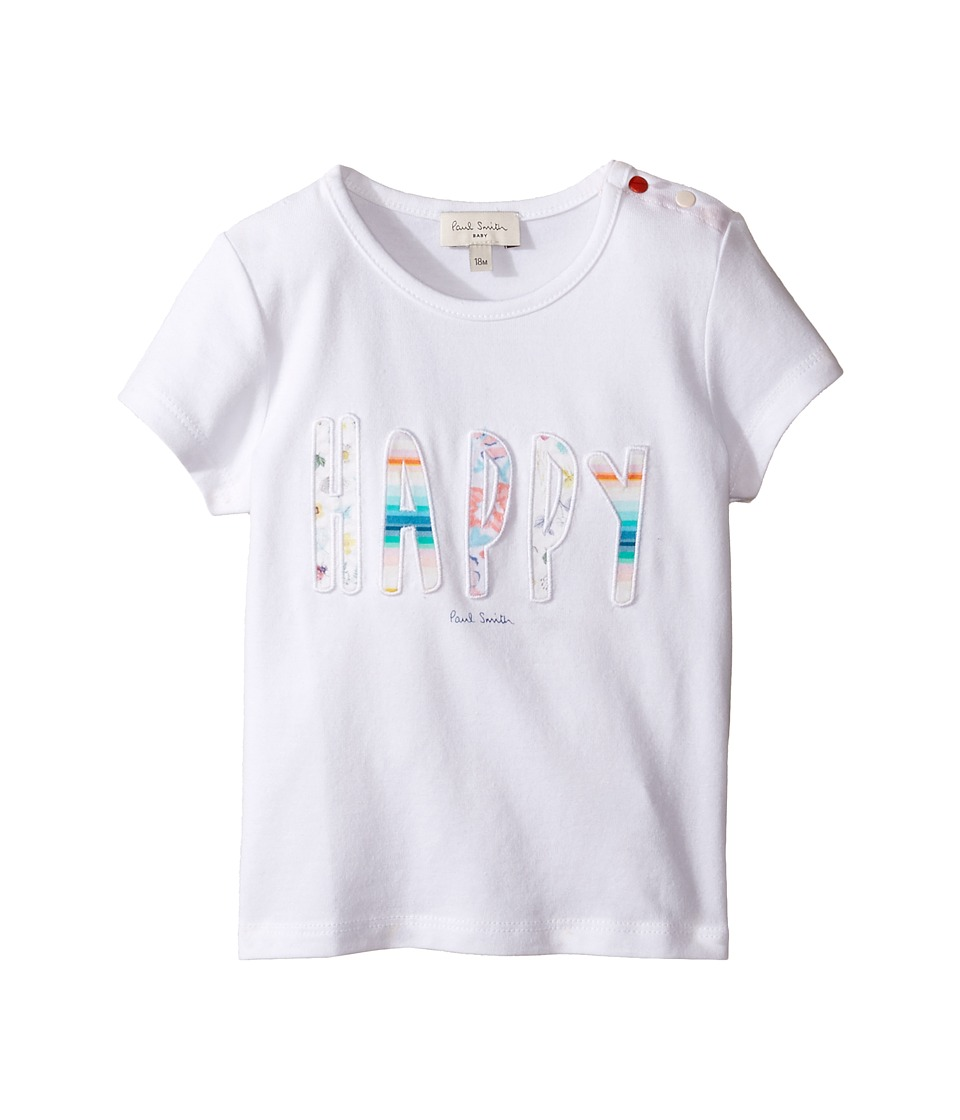 Paul Smith Junior - Short Sleeve White Happy Tee (Infant) (White) Girl's T Shirt
