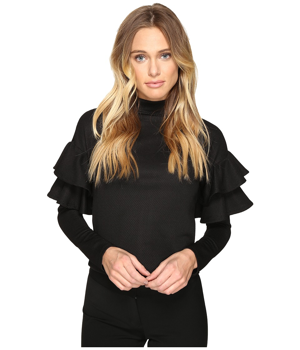 ROMEO & JULIET COUTURE - Textured Long Ruffle Sleeve Neck Top (Black) Women's Clothing