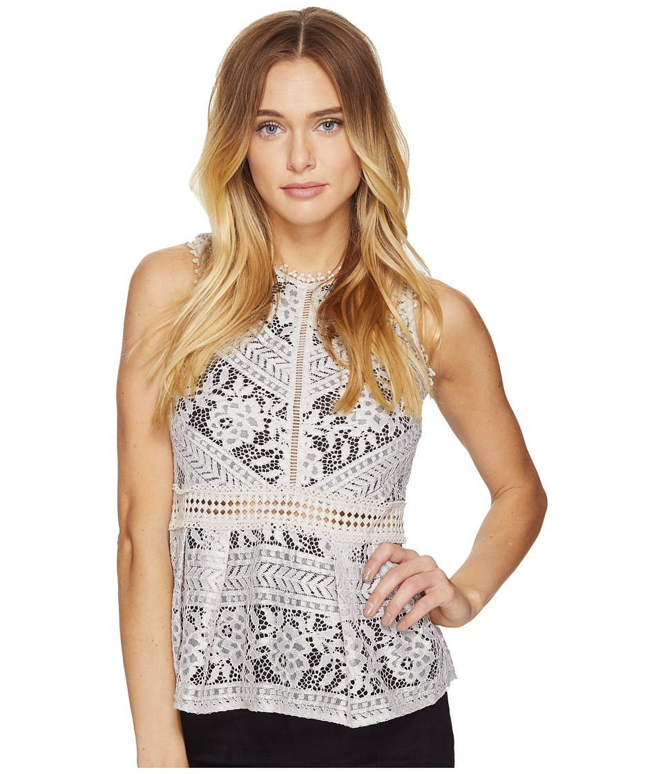 ROMEO & JULIET COUTURE - Lace Peplum Knit Top (Stone) Women's Clothing