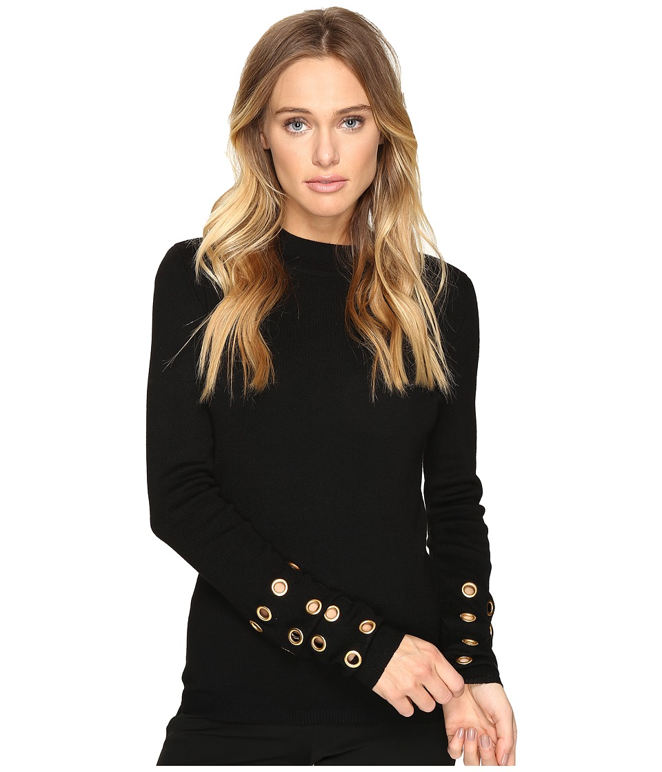 ROMEO & JULIET COUTURE - Long Sleeve Grommet Top (Black) Women's Clothing