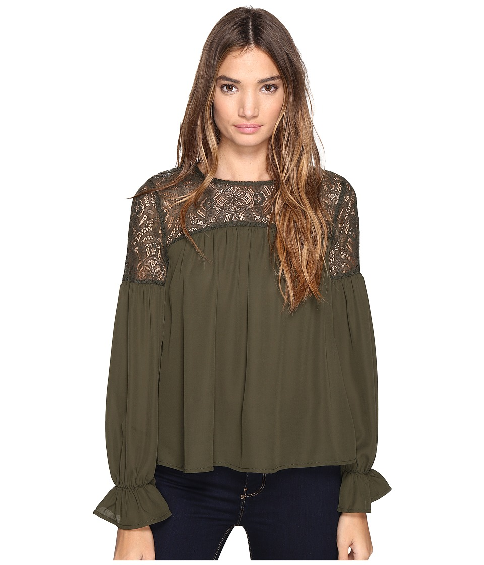ROMEO & JULIET COUTURE - Long Sleeve Solid Lace-Up Top (Olive) Women's Clothing