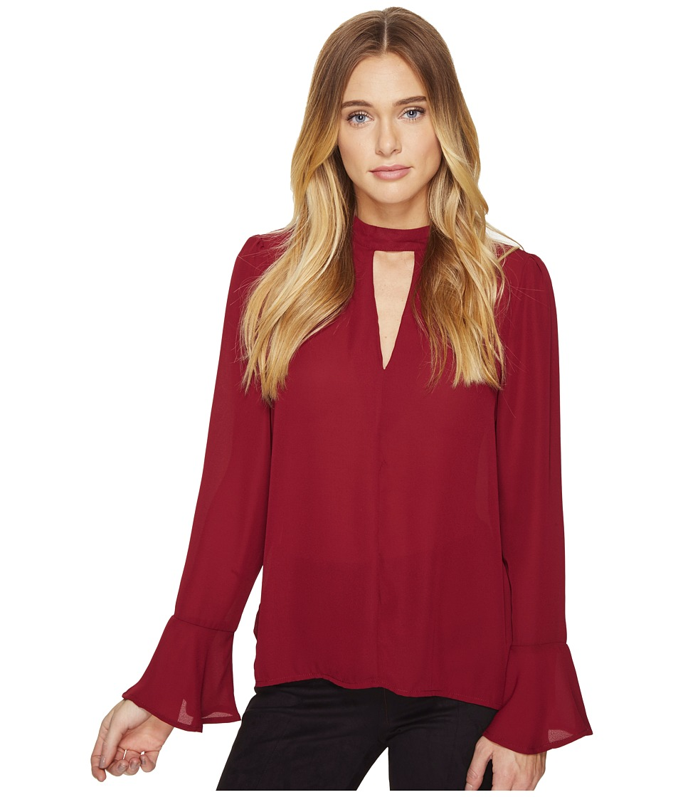 ROMEO & JULIET COUTURE - Long Sleeve V-Neck Top (Wine) Women's Clothing
