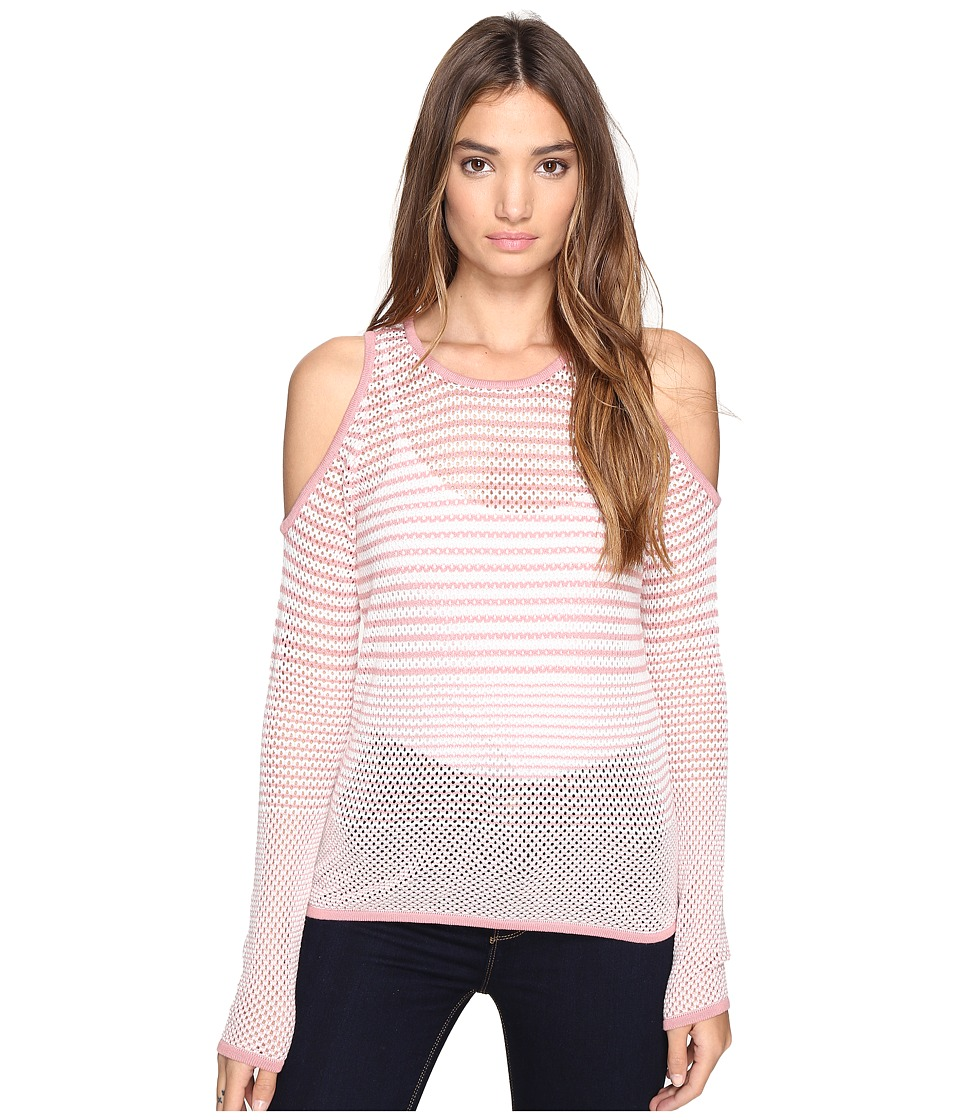 ROMEO & JULIET COUTURE - Long Sleeve Cold Shoulder Stripe Top (Blush) Women's Clothing
