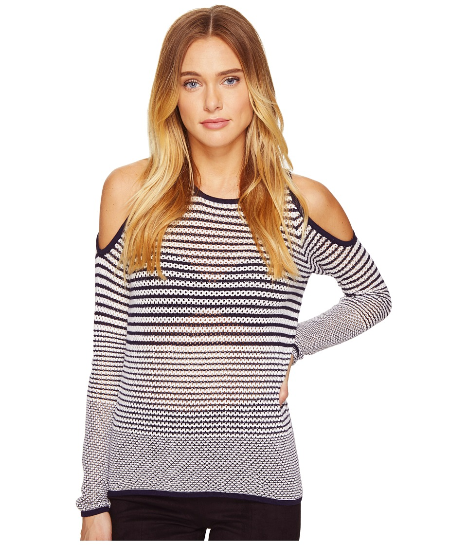 ROMEO & JULIET COUTURE - Long Sleeve Cold Shoulder Stripe Top (Navy) Women's Clothing