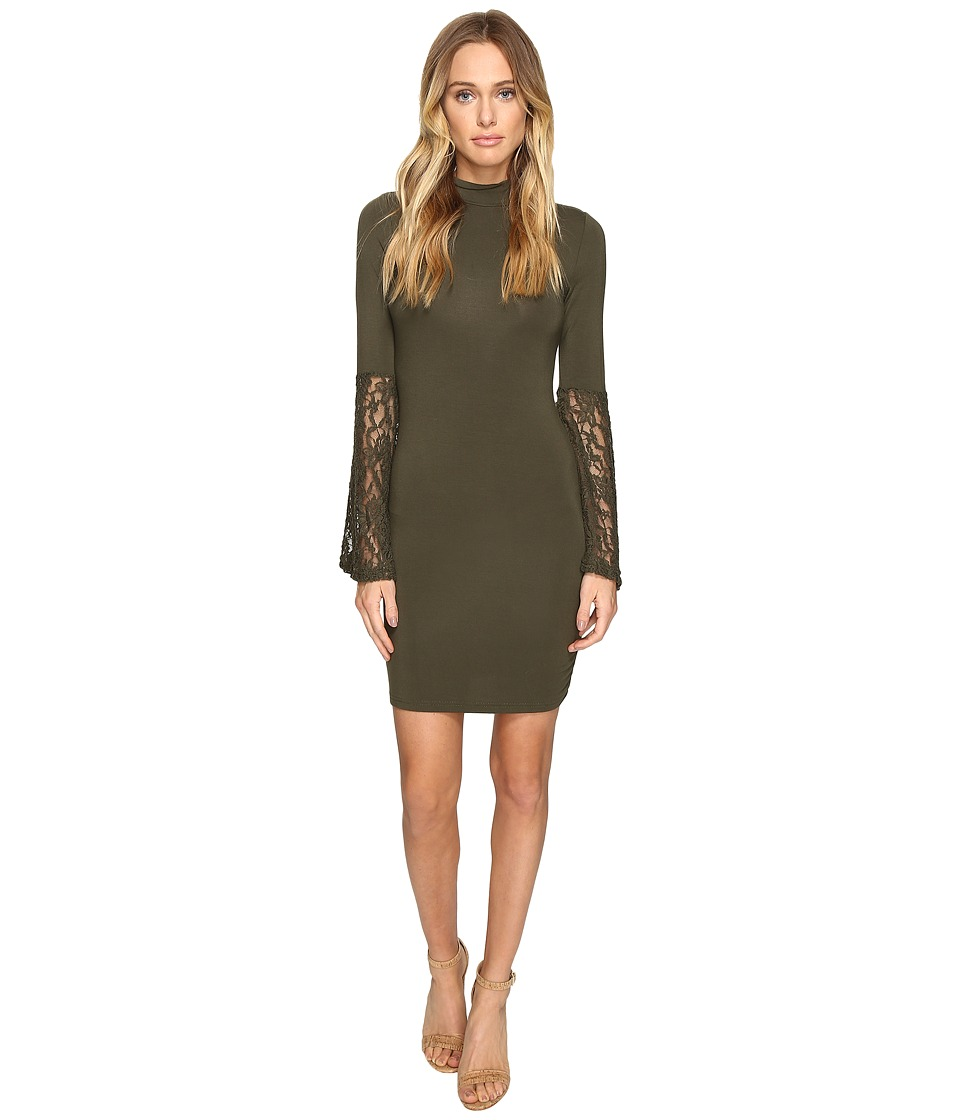 ROMEO & JULIET COUTURE - Long Sleeve Lace Woven Dress (Olive) Women's Dress