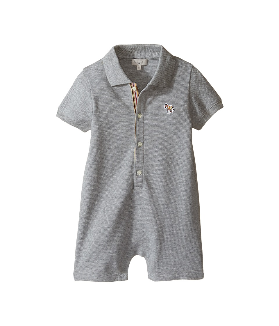 Paul Smith Junior - Short Sleeve Grey Pique Romper (Infant) (Grey Marl) Boy's Jumpsuit & Rompers One Piece