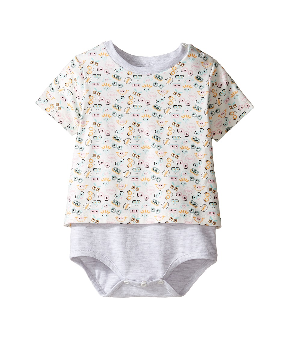 Fendi Kids - Short Sleeve Eye Print T-Shirt Bodysuit (Infant) (White/Multi) Kid's Jumpsuit & Rompers One Piece