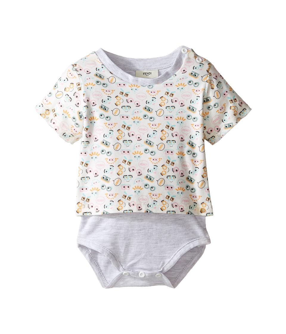 Fendi Kids - Short Sleeve Eye Print T-Shirt Bodysuit (Infant) (White/Multi) Kid's Jumpsuit & Rompers One Piece