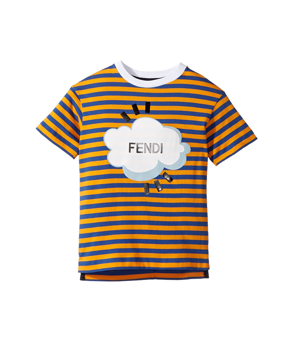 Fendi Kids - Short Sleeve Logo Graphic Striped T-Shirt (Toddler) (Blue/Orange) Boy's T Shirt