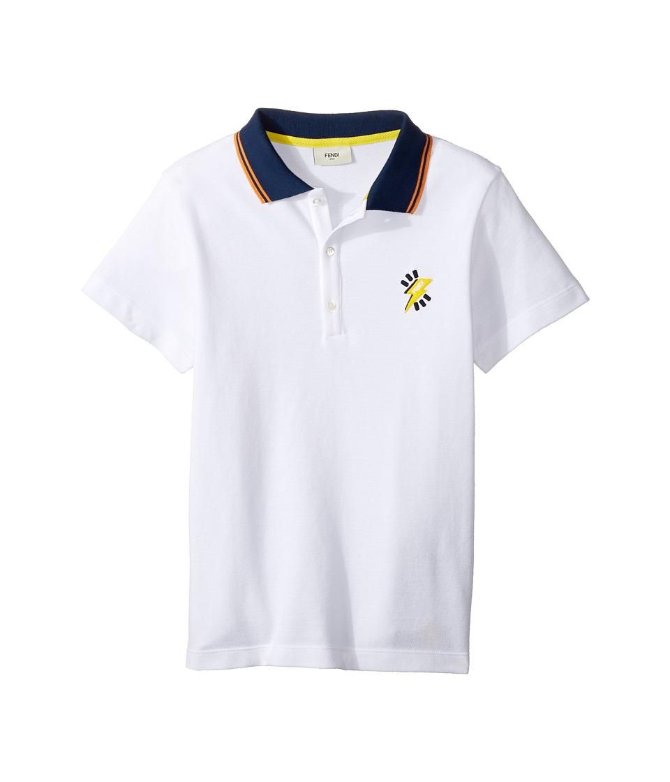 Fendi Kids - Short Sleeve Polo T-Shirt w/ Logo Detail (Big Kids) (White) Boy's T Shirt