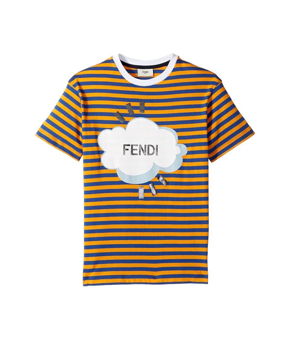 Fendi Kids - Short Sleeve Logo Graphic Striped T-Shirt (Little Kids) (Blue/Orange) Boy's T Shirt