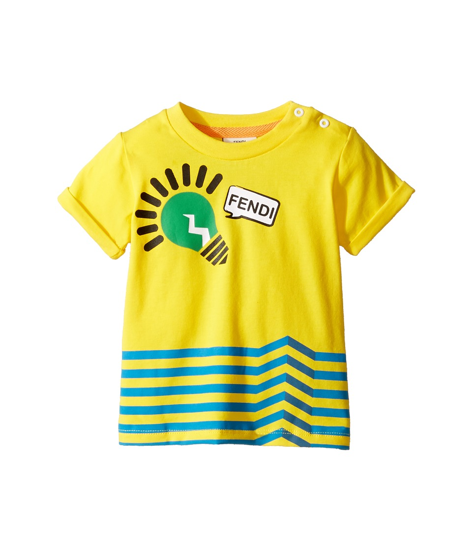 Fendi Kids - Short Sleeve Logo Light Bulb Graphic T-Shirt (Infant) (Yellow) Boy's T Shirt