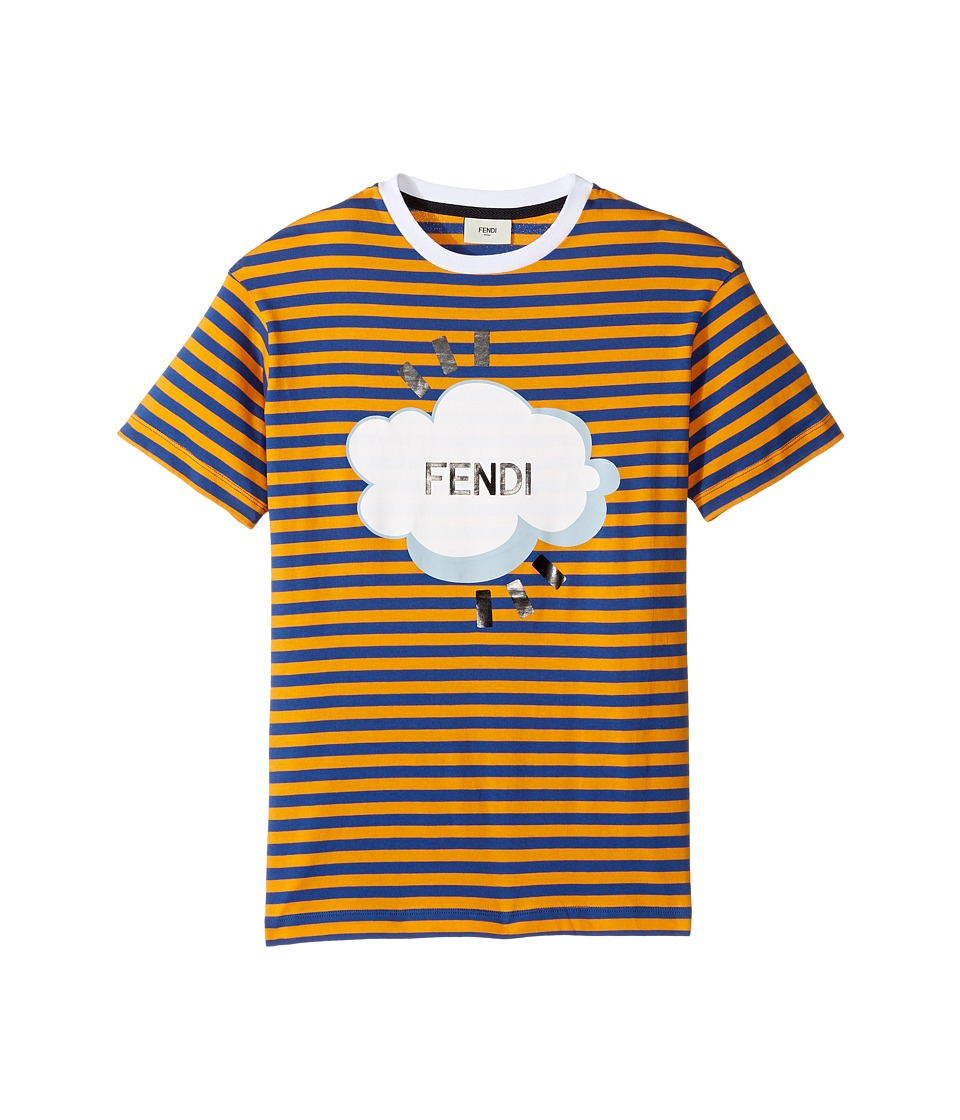 Fendi Kids - Short Sleeve Logo Graphic Striped T-Shirt (Big Kids) (Blue/Orange) Boy's T Shirt