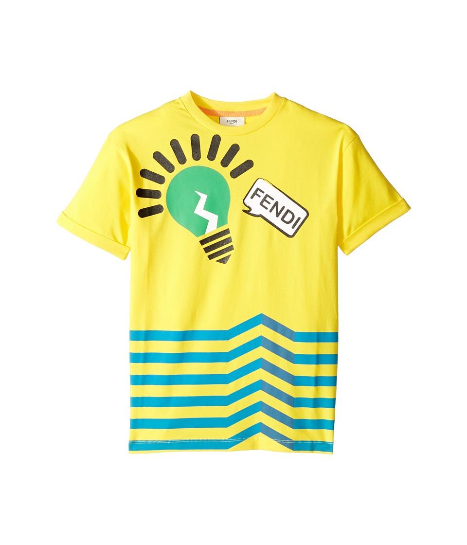Fendi Kids - Short Sleeve Logo Light Bulb Graphic T-Shirt (Little Kids) (Yellow) Boy's T Shirt