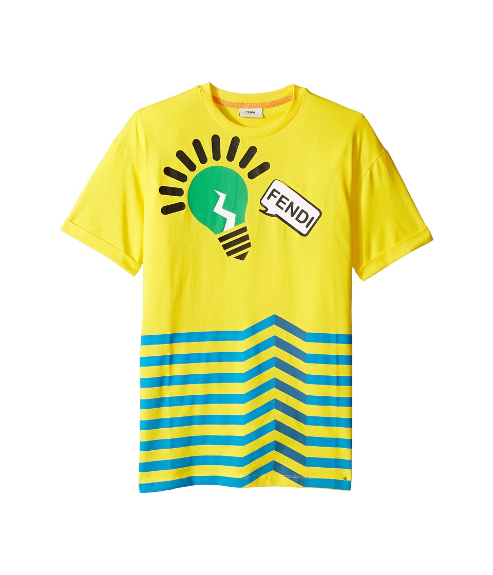 Fendi Kids - Short Sleeve Logo Light Bulb Graphic T-Shirt (Big Kids) (Yellow) Boy's T Shirt