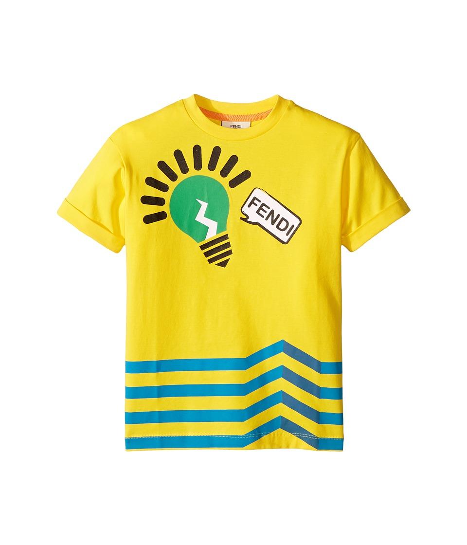 Fendi Kids - Short Sleeve Logo Light Bulb Graphic T-Shirt (Toddler) (Yellow) Boy's T Shirt