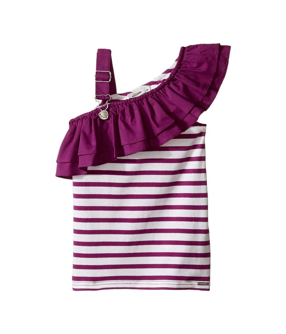 Junior Gaultier - Purple and White Striped Top with Ruffle (Toddler/Little Kids) (Violine) Girl's Clothing