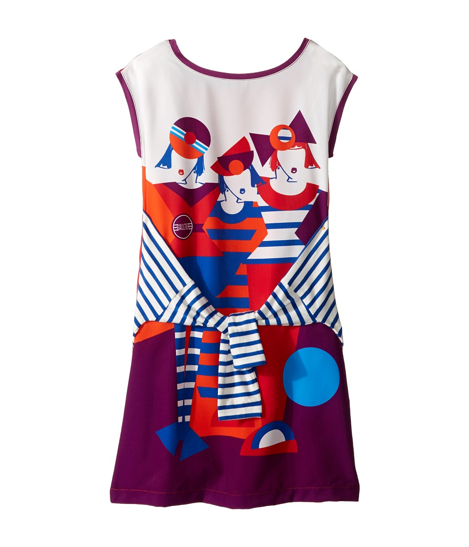Junior Gaultier - Dress with Image of 3 Girls w/ Fake Tyed Sleeves (Big Kids) (Rouge Drapeau) Girl's Dress