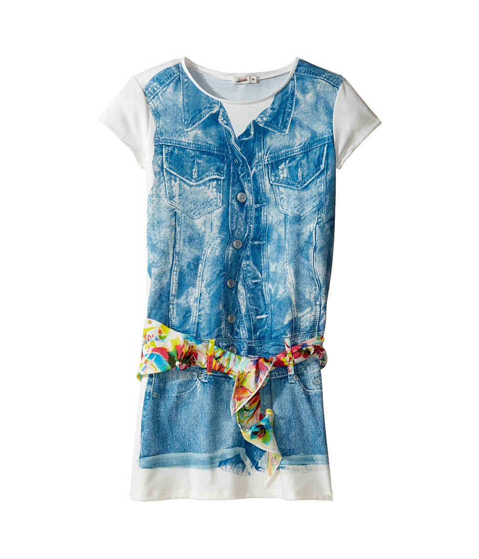 Junior Gaultier - Dress with Image of Denim Romper and Floral Scarf Belt (Big Kids) (Ecru) Girl's Dress