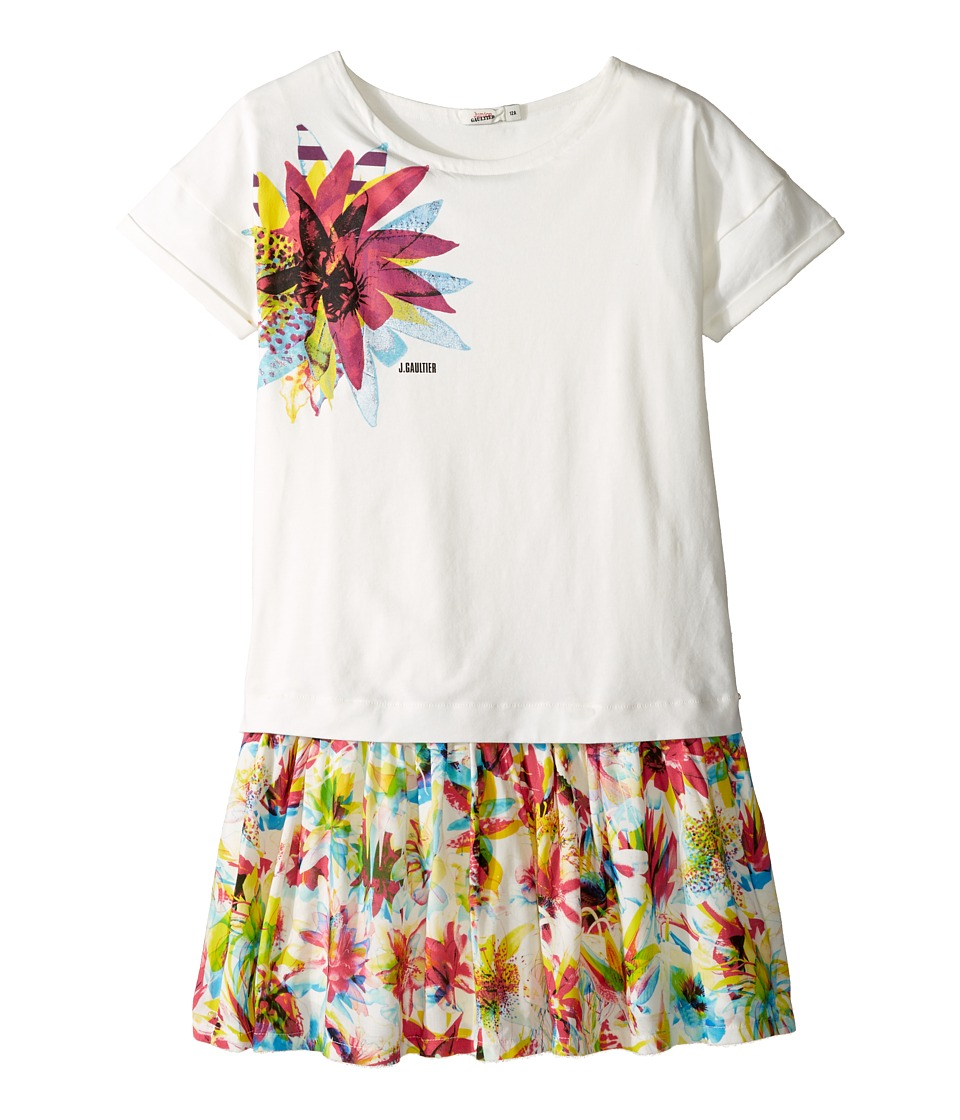 Junior Gaultier - Dress with T-Shirt Top with Image of Flower and Flower Bottom (Big Kids) (Ecru) Girl's Dress