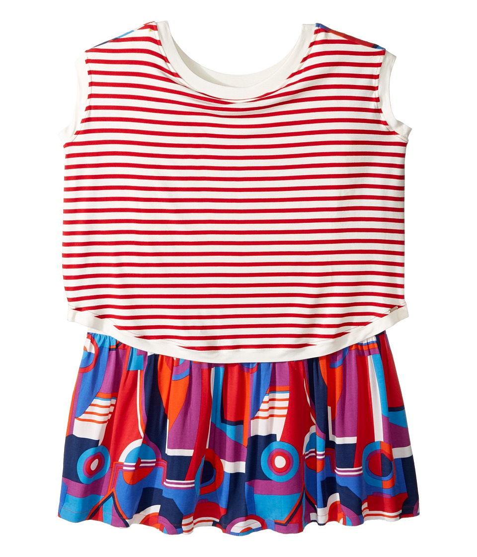 Junior Gaultier - Striped/Color Block Front and Back Printed Dress (Big Kids) (Bleu Drapeau) Girl's Dress