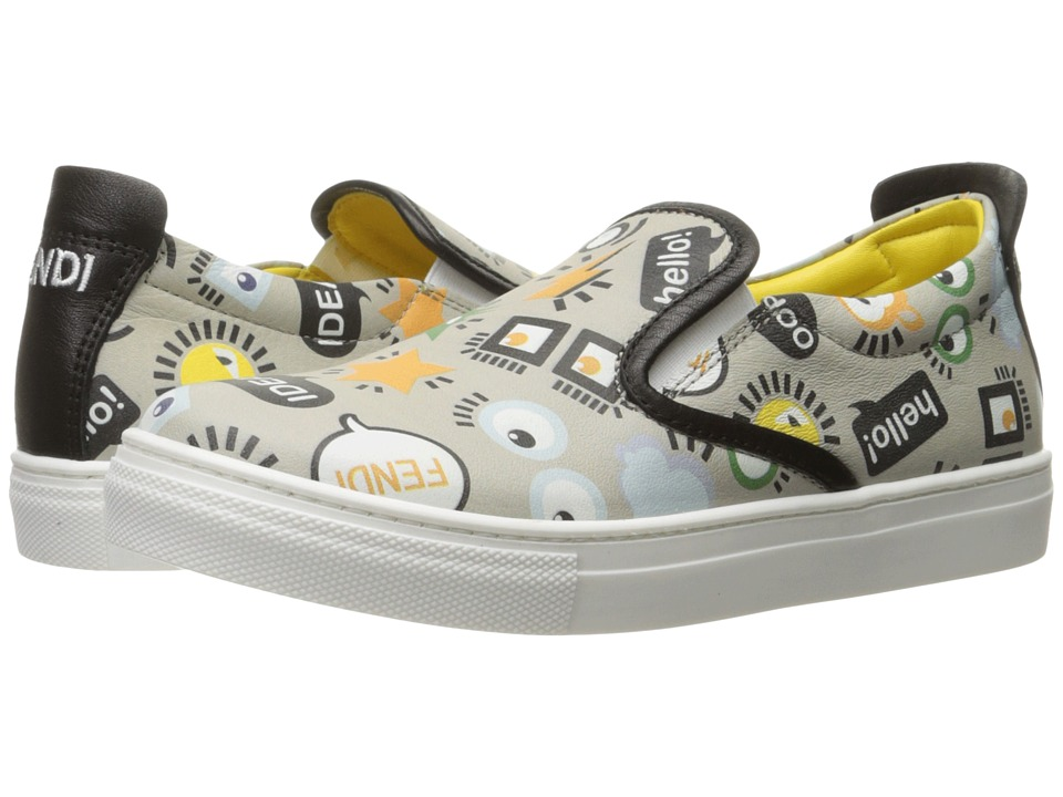 Fendi Kids - All Over Print Slip-On Sneakers (Little Kid/Big Kid) (Grey) Boys Shoes