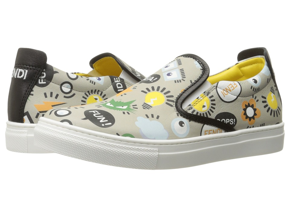 Fendi Kids - All Over Print Slip-On Sneakers (Big Kid) (Grey) Boys Shoes