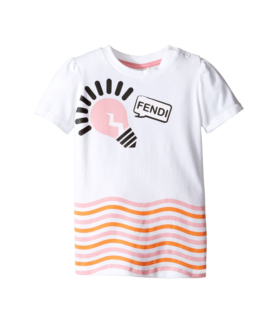 Fendi Kids - Short Sleeve Logo Light Bulb Graphic T-Shirt (Infant) (White) Girl's T Shirt