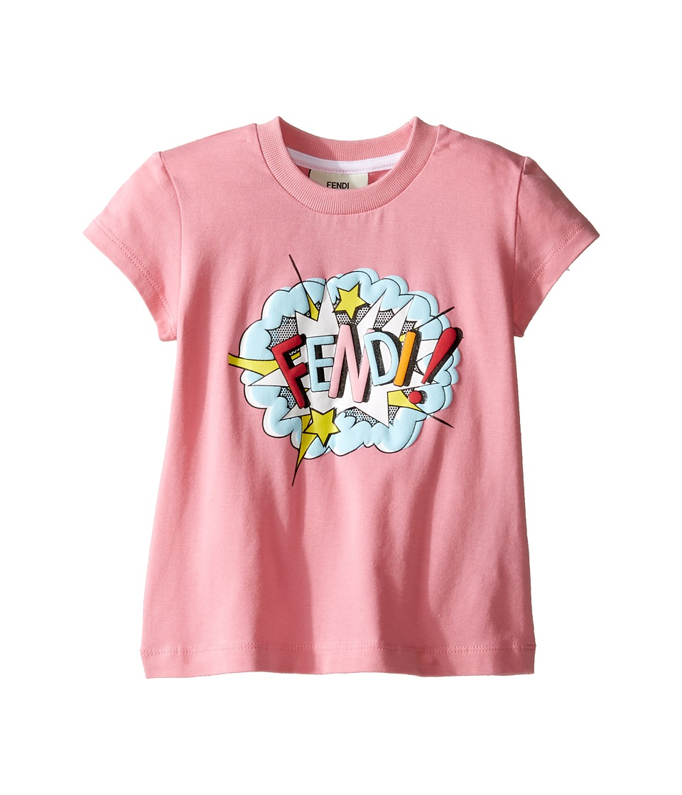 Fendi Kids - Short Sleeve T-Shirt w/ Logo Design on Front (Toddler) (Pink) Girl's T Shirt