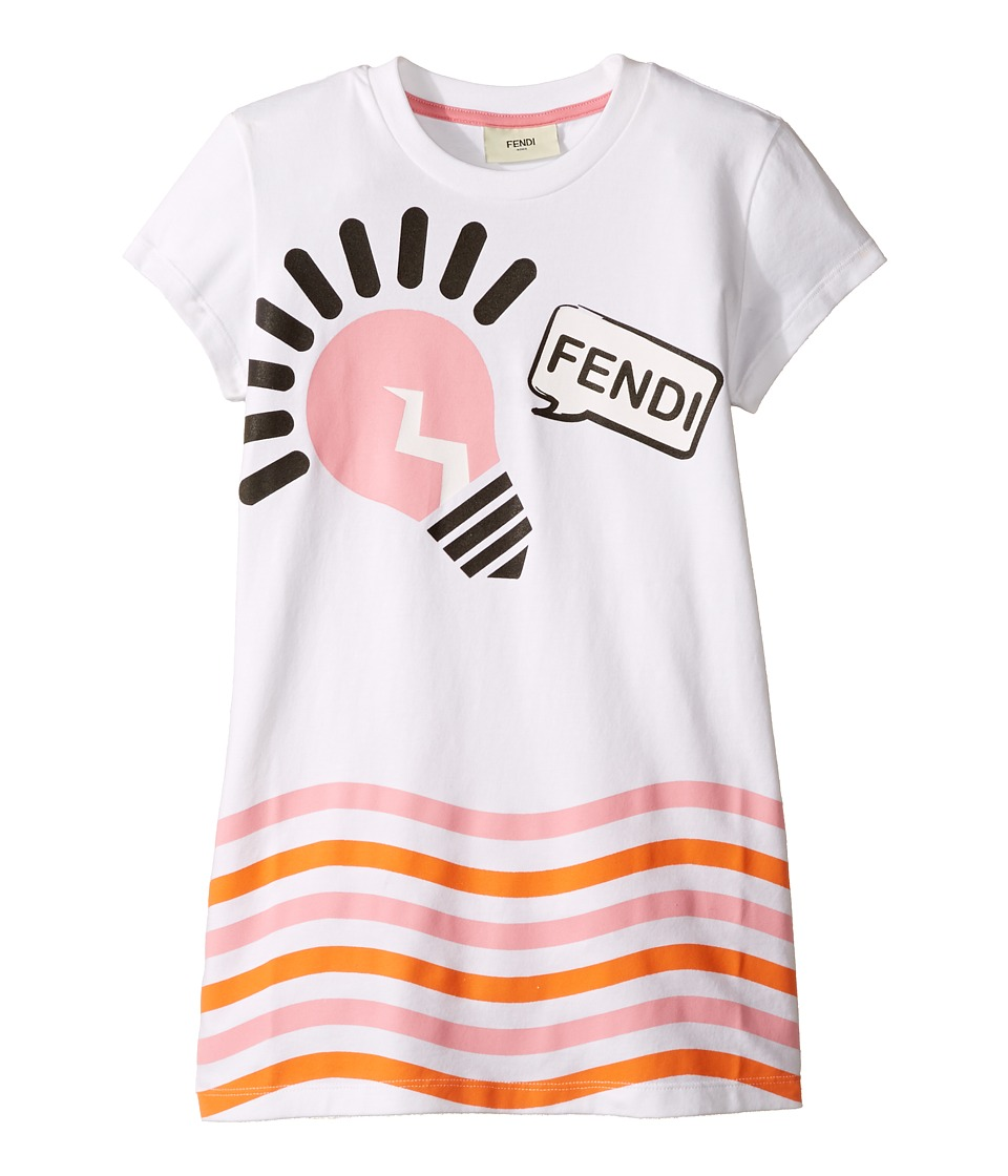 Fendi Kids - Short Sleeve Logo Light Bulb Graphic T-Shirt (Little Kids) (White) Girl's T Shirt