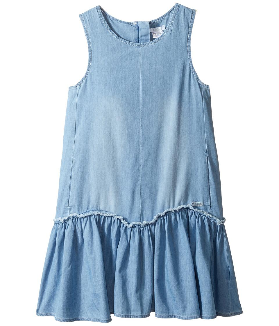 Chloe Kids - Denim Effect Sleeveless Dress From Adult Collection (Little Kids/Big Kids) (Denim Blue) Girl's Dress