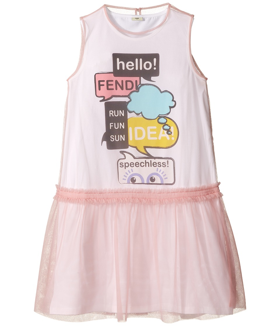 Fendi Kids - Text Message Graphic Dress w/ Tulle Overlay (Big Kids) (Pink) Girl's Dress