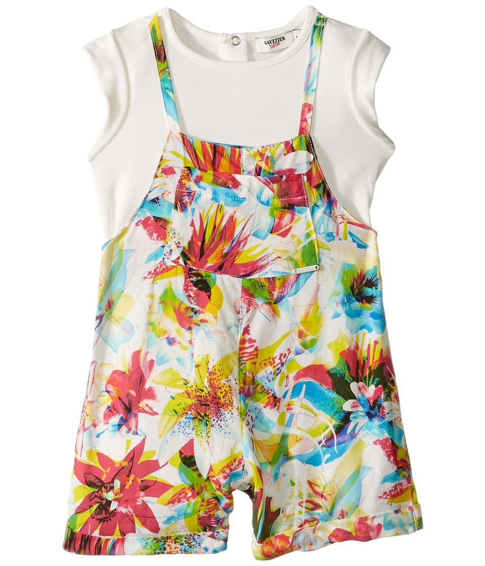 Junior Gaultier - Floral Romper with Purple Top (Infant) (Multicolor) Girl's Jumpsuit & Rompers One Piece