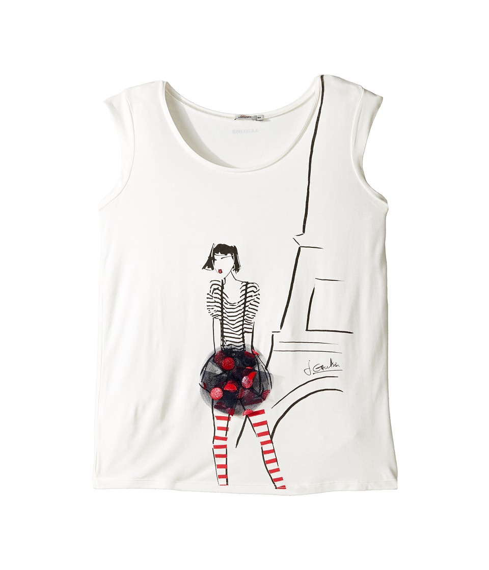 Junior Gaultier - Eiffel Tower Tee Shirt (Big Kids) (Ecru) Girl's Clothing