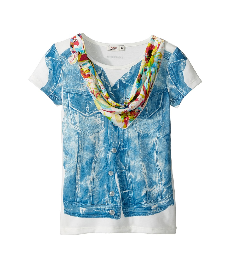 Junior Gaultier - Top with Denim Vest Print and Floral Bandana (Big Kids) (Ecru) Girl's Clothing