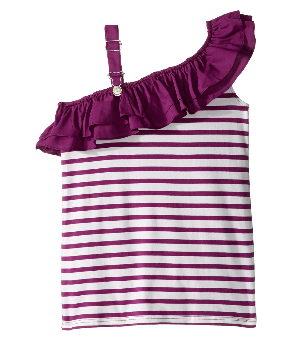 Junior Gaultier - Purple and White Striped Top with Ruffle (Big Kids) (Violine) Girl's Clothing