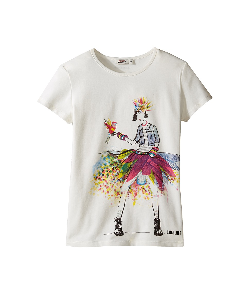 Junior Gaultier - Top with Image of Girl in Denim Jacket and Multicolored Skirt (Big Kids) (Ecru) Girl's Clothing