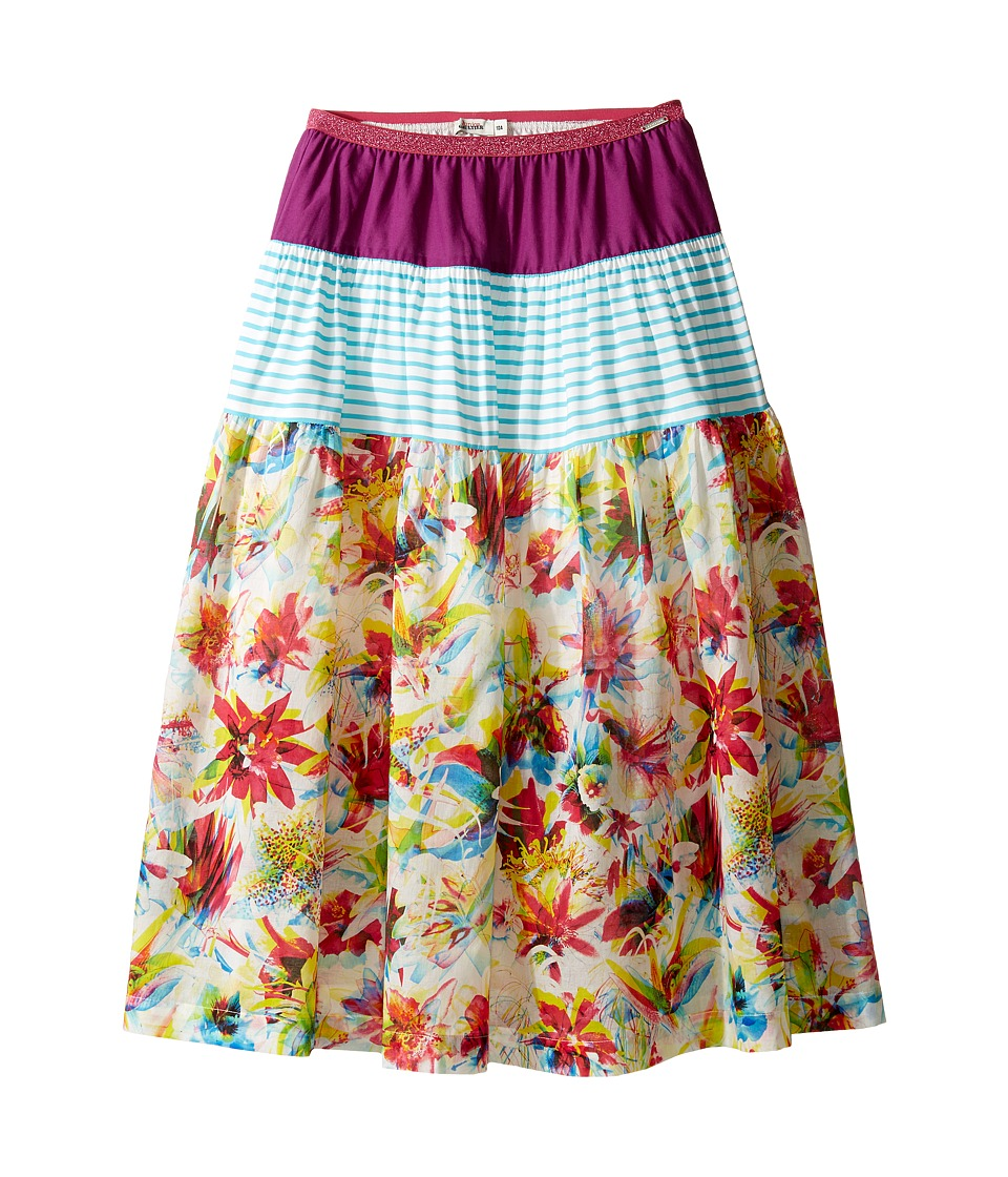 Junior Gaultier - Purple, Blue and White Stripes, Floral Print 3 Tiered Skirt (Big Kids) (Multicolor) Girl's Skirt