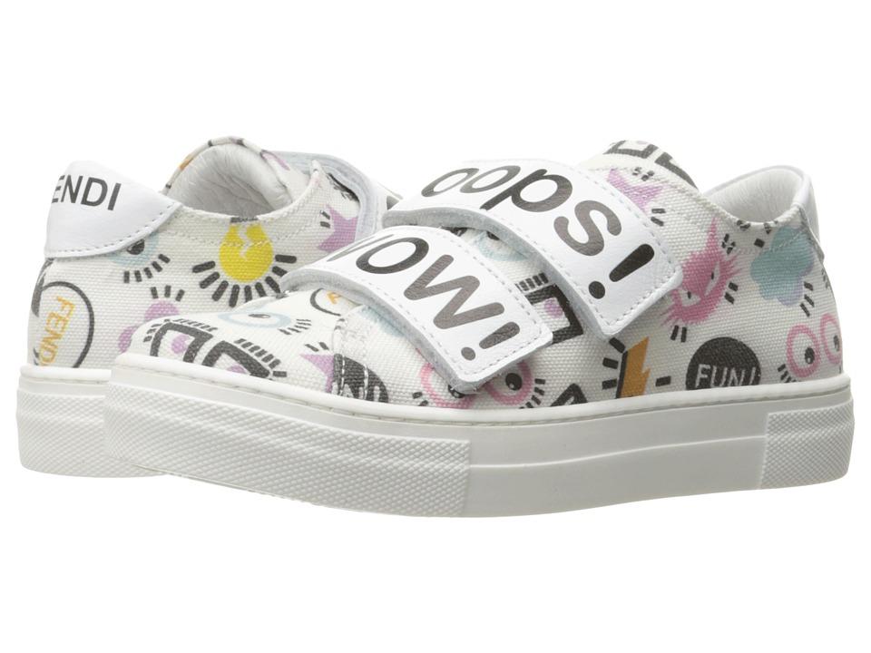 Fendi Kids - Printed Hook and Loop Sneakers (Little Kid/Big Kid) (White/Multi) Girl's Shoes
