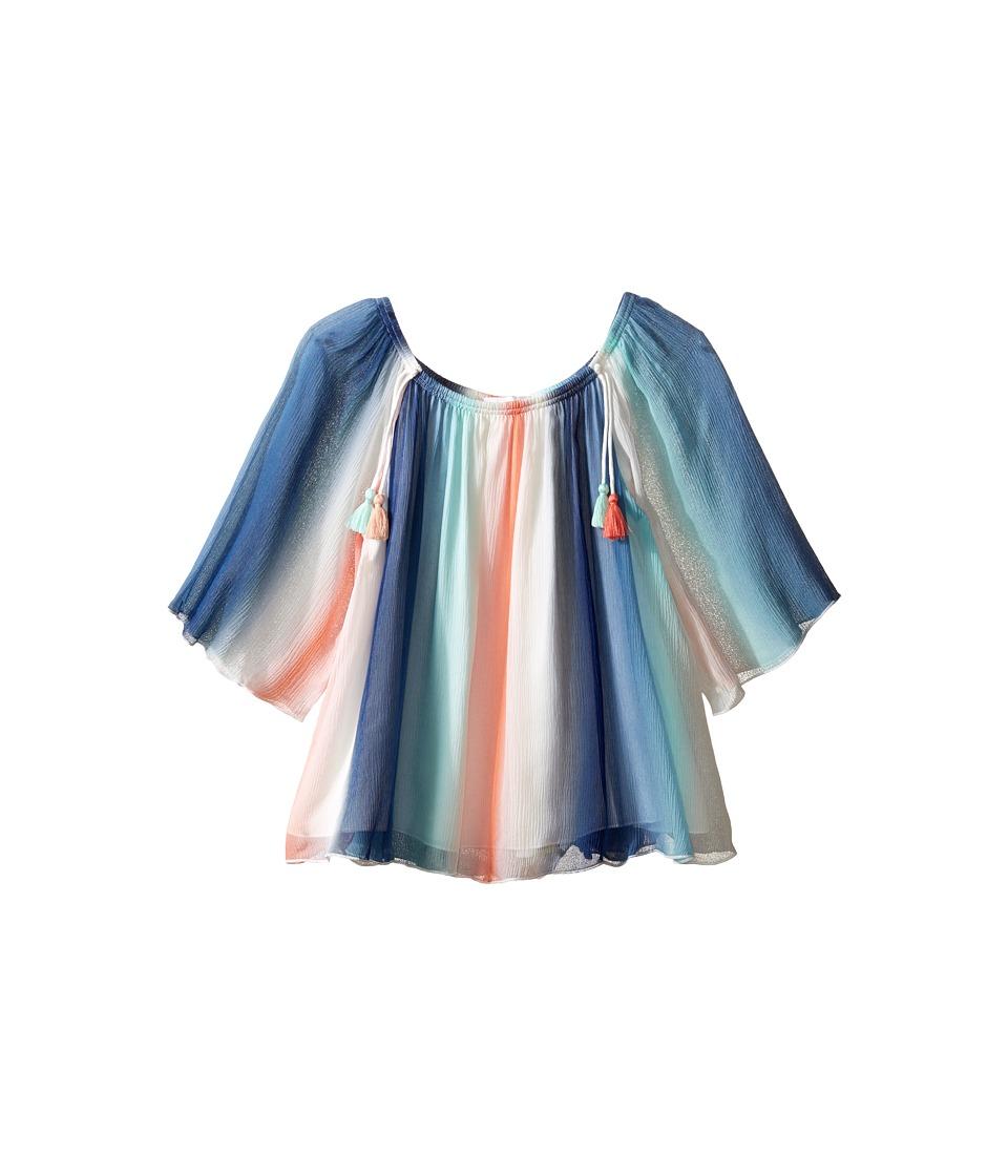 Chloe Kids - Mine Me Rainbow Striped w/ Tassels Long Sleeve Blouse (Little Kids/Big Kids) (Bleu Rouge) Girl's Blouse