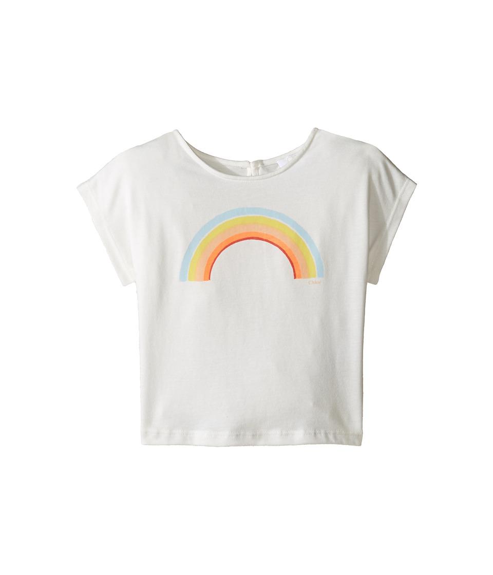 Chloe Kids - Sunglasses Or Rainbow Print Short Sleeve Tee Shirt (Toddler/Little Kids) (Off-White) Girl's T Shirt