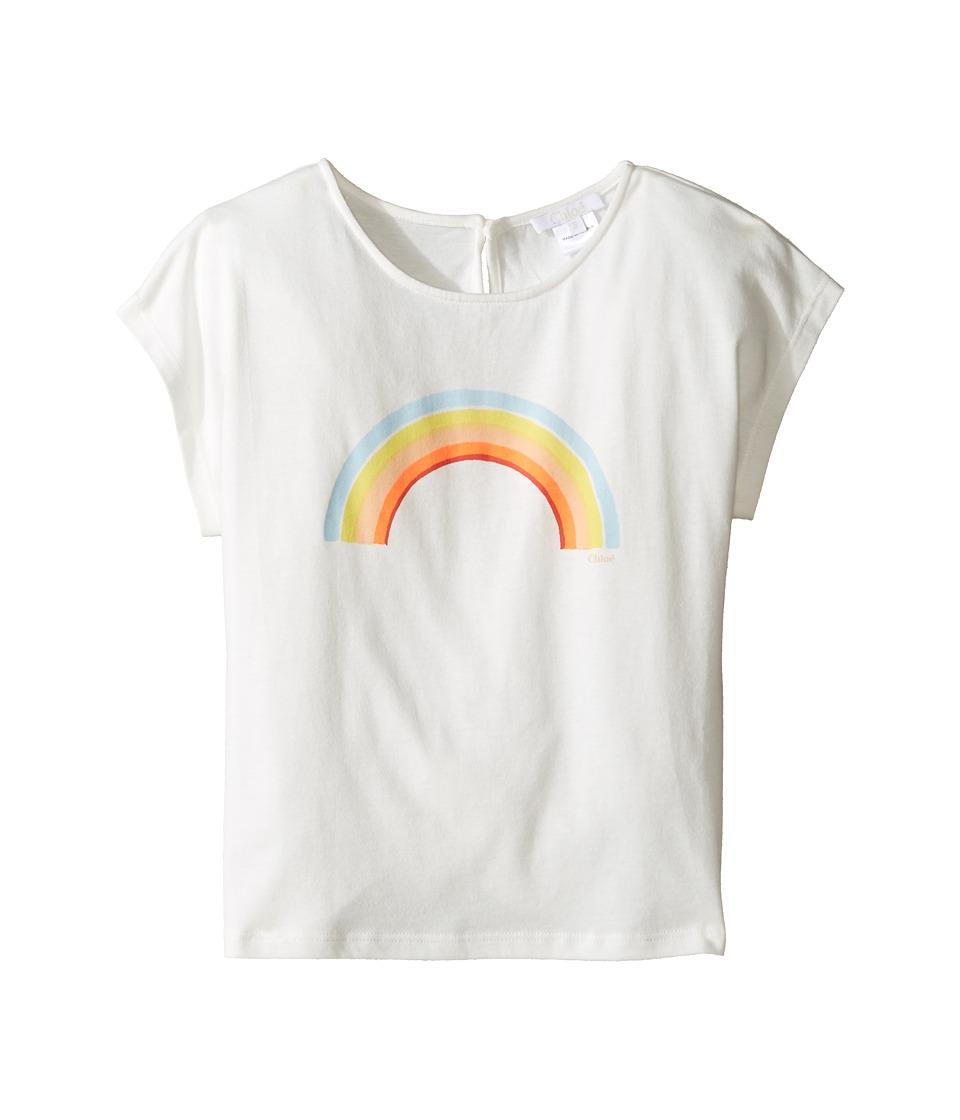 Chloe Kids - Sunglasses Or Rainbow Print Short Sleeve Tee Shirt (Little Kids/Big Kids) (Off-White) Girl's T Shirt