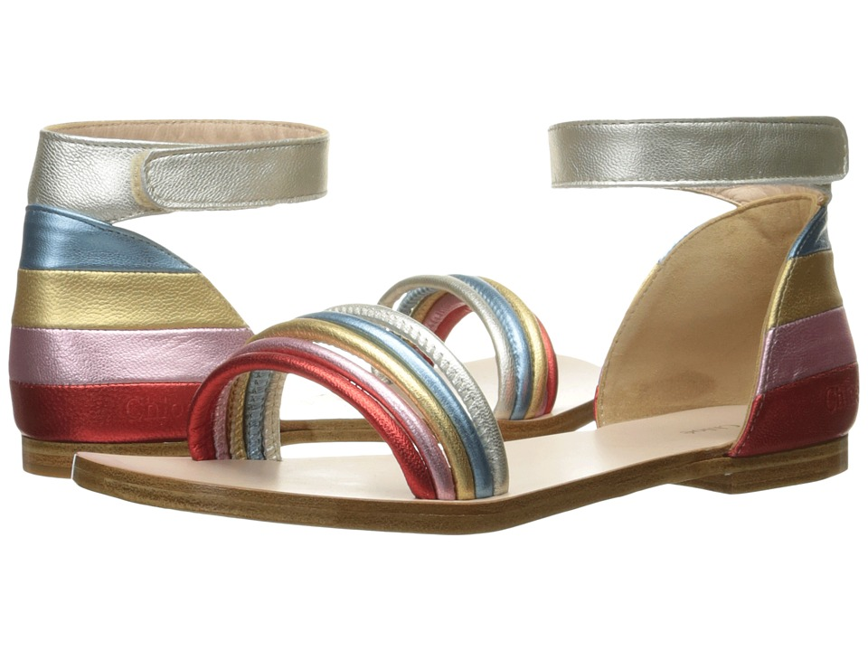 Chloe Kids - Leather Rainbow Colors Sandals (Little Kid) (Multicolor) Girls Shoes