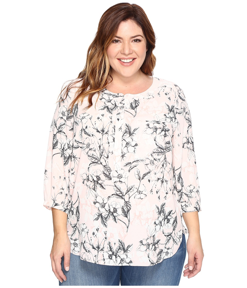 NYDJ Plus Size - Plus Size 3/4 Sleeve Pleat Back Top (Botanical Etchings Pink Chiffon) Women's Clothing