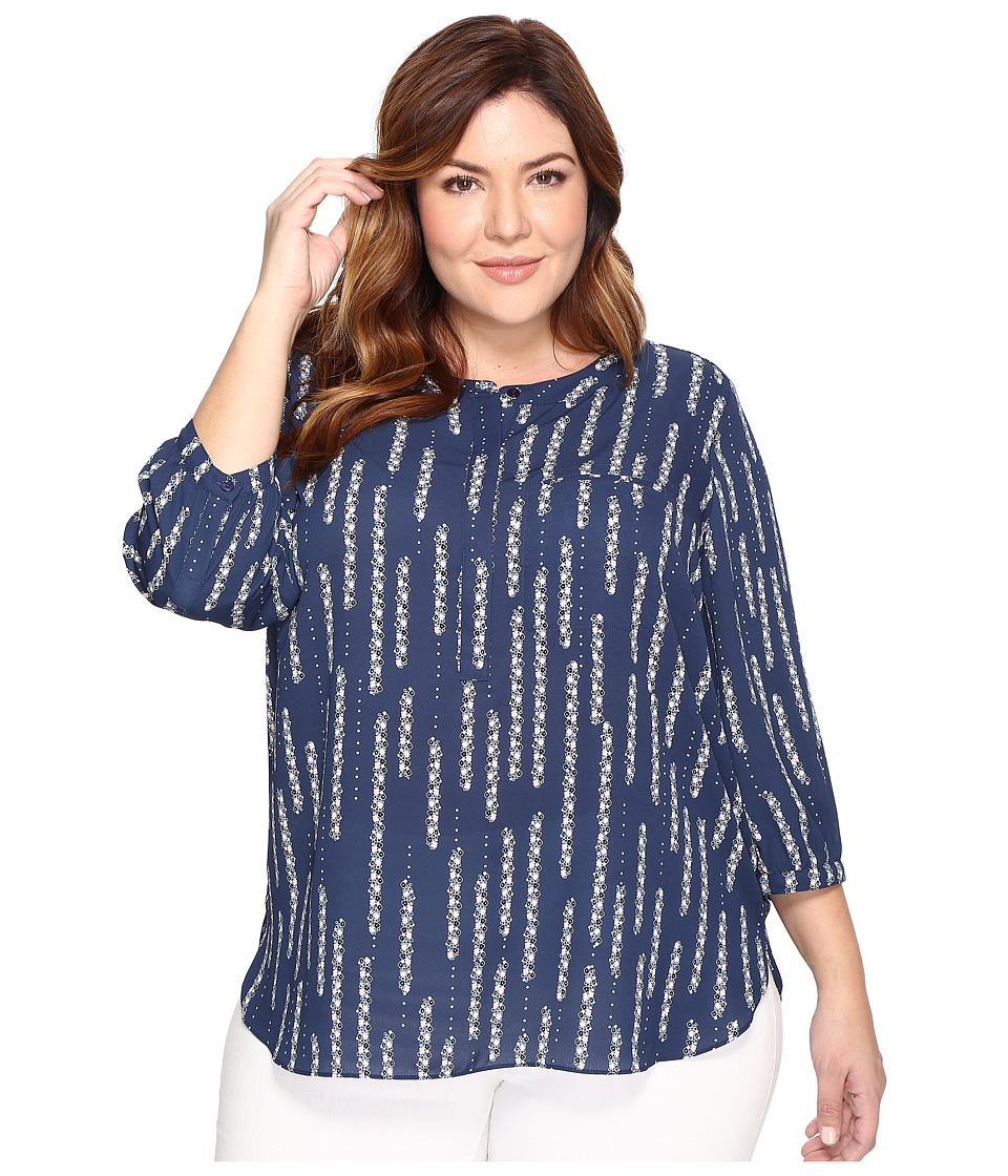 NYDJ Plus Size - Plus Size 3/4 Sleeve Pleat Back Top (Floral Dewdrops Dark Atlantis) Women's Clothing