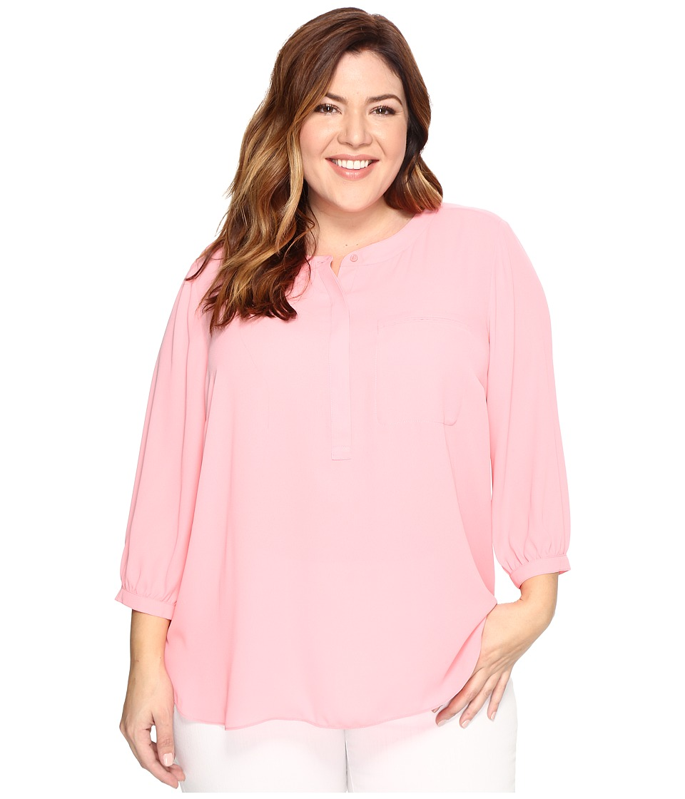 NYDJ Plus Size - Plus Size 3/4 Sleeve Pleat Back Top (Pink Gerber) Women's Clothing