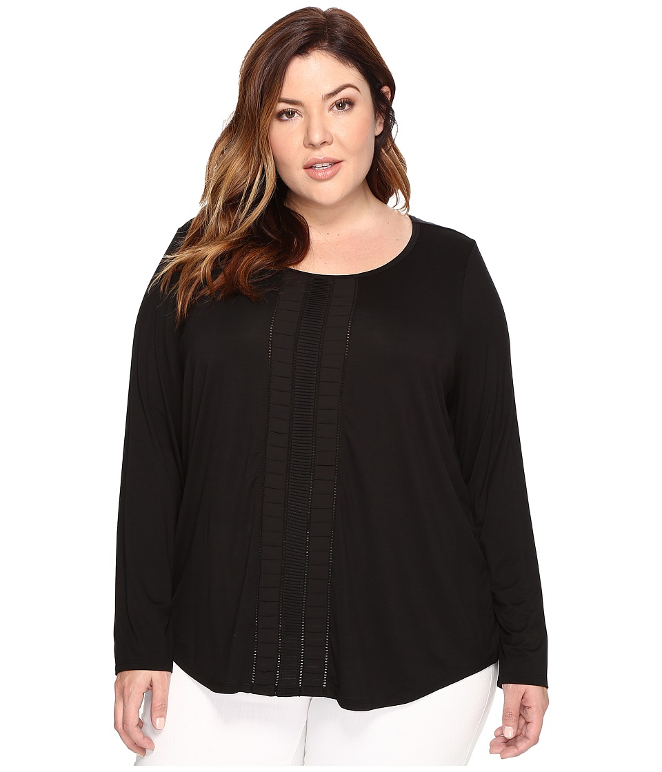 NYDJ Plus Size - Plus Size Knit and Woven Pleated Top (Black) Women's Clothing